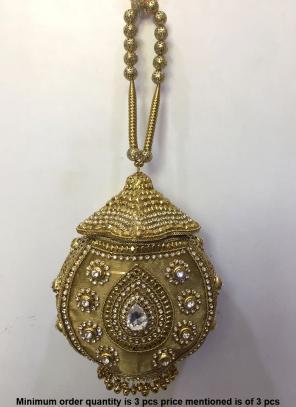 Golden Metal Clutch Bag With Kundan Work