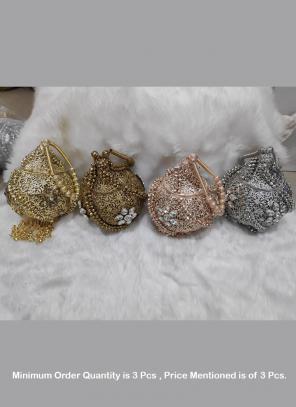 Wholesale designer work Diamond metal clutch ( Price For 3 Pcs)