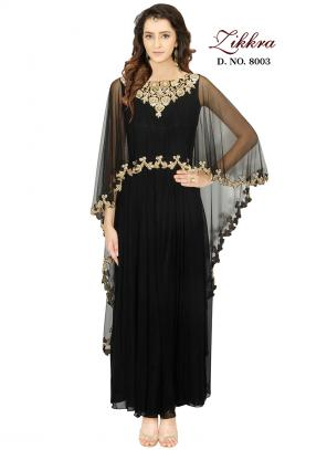 Party Wear Black Georgette Hand Work Gown
