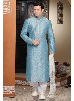 Blue Wholesale Kurta Pajama With Dhupion Fabric
