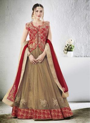 Bridal Wear Beige Net Zari Embroidery Work Lehenga Choli