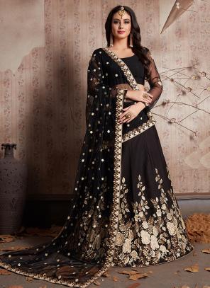 Bridal Wear Black Crepe Zari Embroidery Work Lehenga Choli