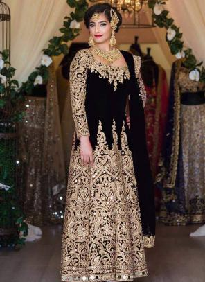 Bridal Wear Black Tapeta Silk Heavy Embroidery Work Salwar Suit