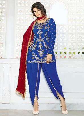 Bridal Wear Blue Crepe Hand Work Salwar Suit