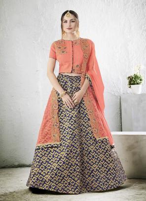 Bridal Wear Blue Jacqaurd Zari Embroidery Work Lehenga Choli