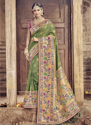Bridal Wear Green Banarasi Silk Heavy Embroidery Work Saree