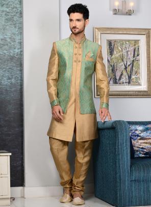 Bridal Wear Green Brocade Embroidery Work Sherwani