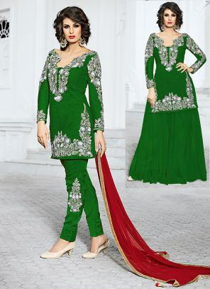 Bridal Wear Green Net Hand Work Salwar Kameez