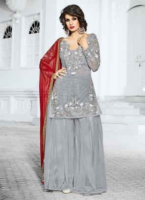 Bridal Wear Grey Net Hand Work Salwar Suit