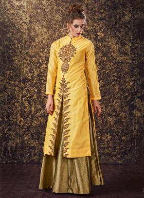 Bridal Wear Lemon Modal Silk Zardosi Work Lehenga Suit