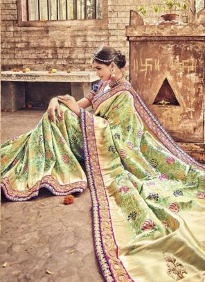 Bridal Wear Light Green Banarasi Silk Heavy Embroidery Work Saree