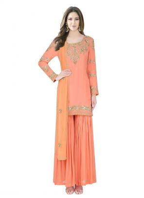 Bridal Wear Light Orange Georgette Sequins Work Designer Sharara Suit