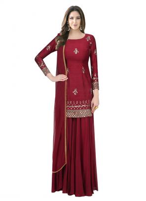 Bridal Wear Maroon Raw Silk Cutdana Work Designer Kameez With Sharara