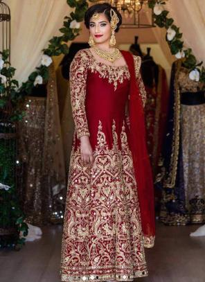 Bridal Wear Maroon Tapeta Silk Heavy Embroidery Work Salwar Suit