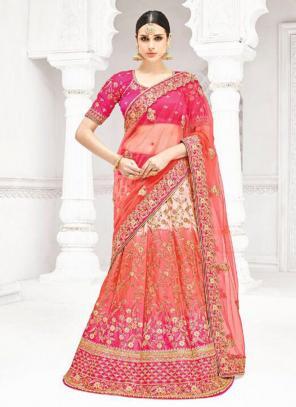 Bridal Wear Multi Color Row Silk Thread Work Lehenga Saree