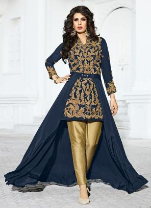 Bridal Wear Neavy Blue Crepe Silk Hand Work Salwar Suit