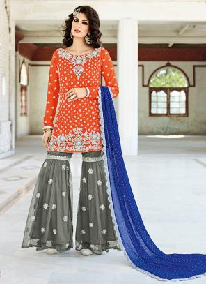 Bridal Wear Orange Crepe Silk Hand Work Salwar Suit