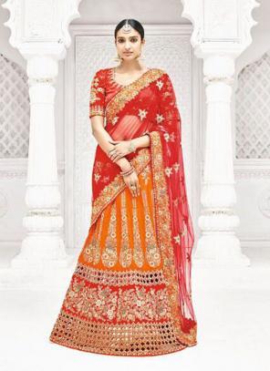 Bridal Wear Orange Row Silk Thread Work Lehenga Saree