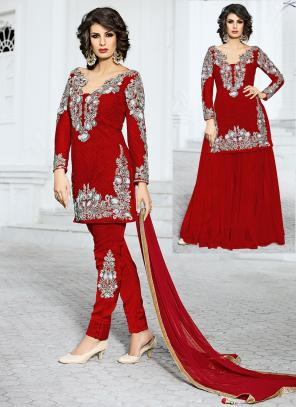 Bridal Wear Red Net Hand Work Salwar Kameez