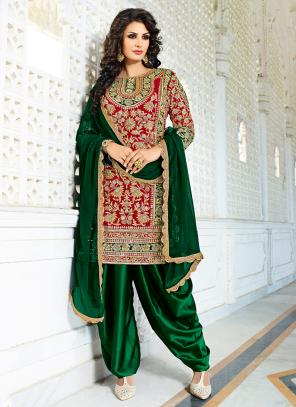 Bridal Wear Red Silk Hand Work Salwar Suit
