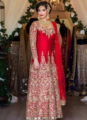 Bridal Wear Red Tapeta Silk Heavy Embroidery Work Salwar Suit