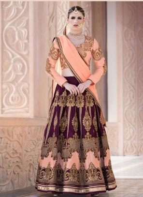 Bridal Wear Violet Banglori Silk Heavy Embroidery Work Lehenga Choli