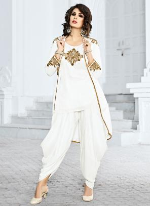 Bridal Wear White Satin Hand Work Salwar Suit