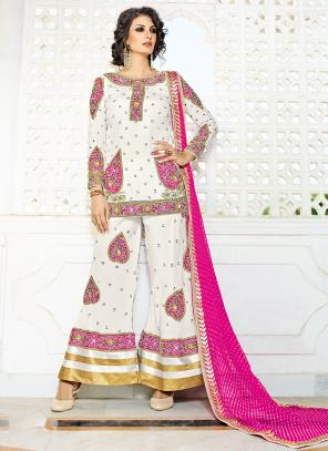 Bridal Wear White Silk Hand Work Salwar Suit