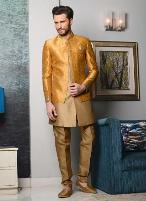 Bridal Wear Yellow Brocade Embroidery Work Sherwani