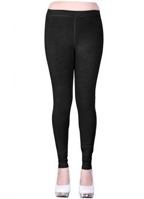 Casual Wear Black Cotton Plain Leggins