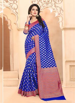 Casual Wear Blue Banarasi Silk Embroidery Work Saree