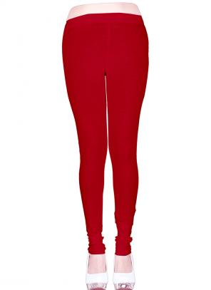 Casual Wear Maroon Cotton Plain Leggins