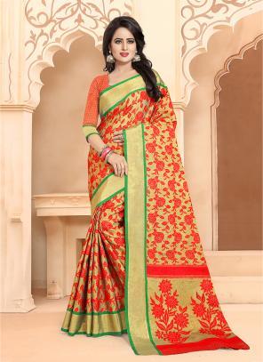 Casual Wear Orange Banarasi Silk Embroidery Work Saree