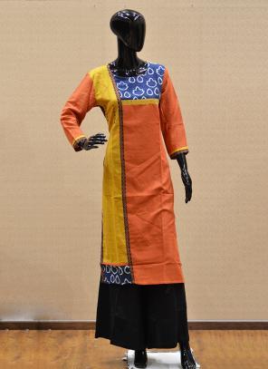 Casual Wear Orange Rayon Printed Work Kurti