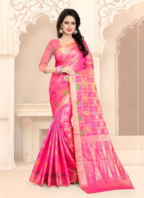 Casual Wear Pink Banarasi Silk Embroidery Work Saree