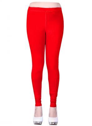 Casual Wear Red Cotton Plain Leggins