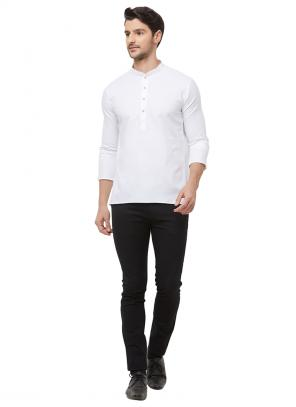 Casual Wear White Cotton Plain Short Kurta