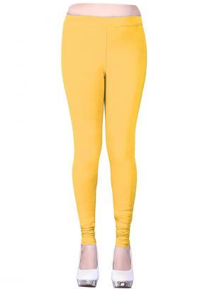 Casual Wear Yellow Cotton Plain Leggins