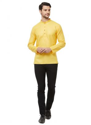 Casual Wear Yellow Cotton Plain Short Kurta