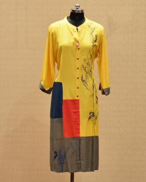 Casual Wear Yellow Rayon Printed Work Kurti