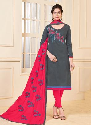 Daily Wear Grey Banglori Slub Embroidery Work Churidar Style