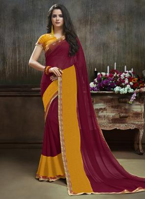 Daily Wear Maroon Georgette Printed Saree