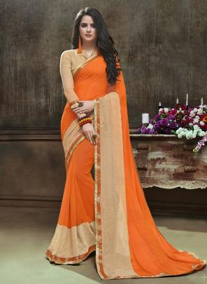 Daily Wear Orange Georgette Printed Saree