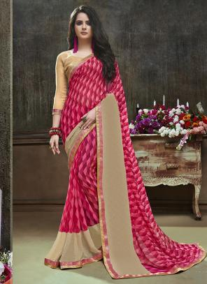 Daily Wear Pink Georgette Printed Saree