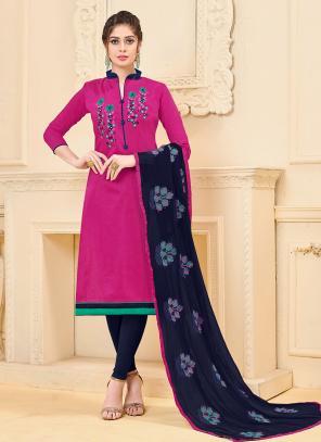 Daily Wear Rani Banglori Slub Embroidery Work Churidar Style