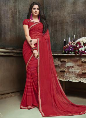 Daily Wear Red Georgette Printed Saree