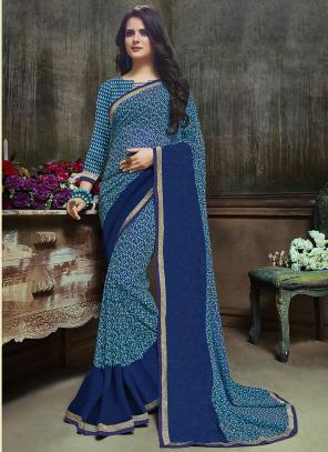 Daily Wear Sky Blue Georgette Printed Saree