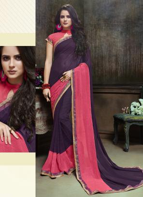 Daily Wear Wine Georgette Printed Saree