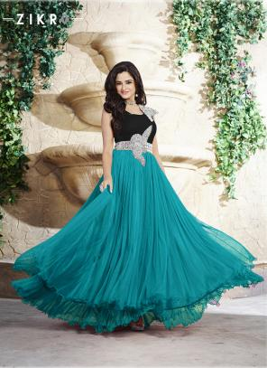Diwali Special Blue Banarasi Net Thread Work Gown