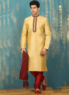 Festival Wear Beige Art Silk Embroidered Work Kurta Pajama